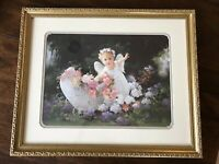Home And Garden Signed Birkenstock Angel Girl In Carriage Of Flowers