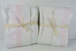 """POTTERY BARN KIDS EMBROIDERED BLACKOUT PANELS CURTAINS PINK WHITE 63"""" S/ 2 #7020"""