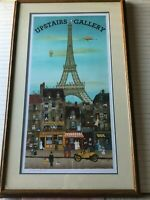 Michel Delacroix Upstairs Gallery Eiffel Tower Signed Original Lithograph Print
