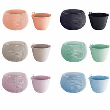 Large Lovely Design Flower Pot Planter Basket-Home Office-Woven Knitted Effect