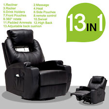 Electric Recliner Sofa Massage Chair Ergonomic Lounge Swivel Heated with Remote