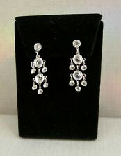 ANTIQUE VINTAGE ART DECO STERLING SILVER OPEN BACK EARRINGS ALL ORIGINAL