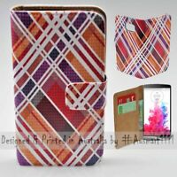 For LG Series Mobile Phone - Tartan Texture Theme Print Wallet Phone Case Cover