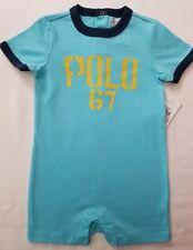 Ralph Lauren Polo Baby Boy Shortall Romper Blue 6 Months NWT