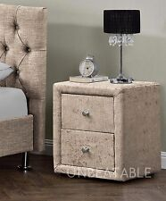 2 Drawers Velvet Linen Fabric Bedside Table Nightstand Bedroom Night