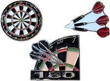 Set of 3 Darts Badges Inc 180 & Dart Board Metal Enamel Pin Badge Set