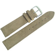 20mm Mens Fluco SHORT Tan Suede Leather German Made Watch Band Strap