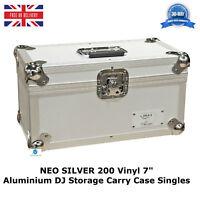 "1 X NEO Aluminium SILVER DJ Flight Case to Store 200 Vinyl Singles 7"" Records HQ"
