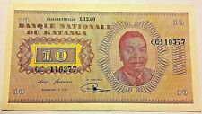 "===>>> 10 Francs  Katanga 1960  Congo belge ""CC""<<<==== Rare Banknote P.05a"