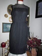 "1960s Black Chiffon Dress Rhinestone Pin Up Jackie Kennedy Style Party 40"" vtg"