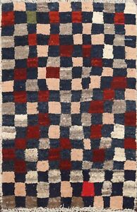 2'x3' Modern Checkered Gabbeh Hand-knotted Area Rug Wool Oriental Kitchen Carpet