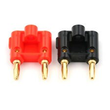 2 Pcs Dual Banana Plug Gold Plated Screw Type Audio Speak Wire Cable ConnecWTTS