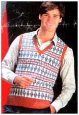 "Knitting Pattern • Mens Fair Isle Tank Top • Sleeveless Sweater Slipover 36-42"""