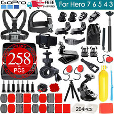 258pcs Accessories Pack Case Chest Head Floating Monopod GoPro Hero 7 6 5 4 3+ 2