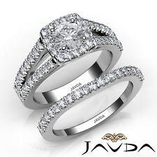 2.4ctw Charming Halo Bridal Set Round Diamond Engagement Ring Gia G-Vs2 W Gold