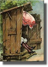 A Woman with Umbrella in Ladies Outhouse Toilet Bathroom Picture Made on Stretch