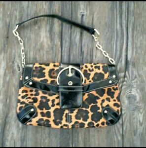MERONA Collection Leopard Animal Print Gold Chain Studded Pocketbook RN 17730