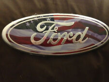 11 FORD F150 GRILL OR TAILGATE EMBLEM FLUFFY AMERICAN FLAG 3-D NEW 9 INCH