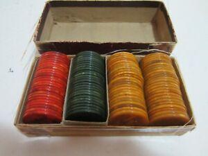 Bakelite poker chips swirl red green yellow 99 chip set