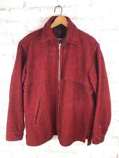 Vintage Red Johnson Woolen Mills 100% Wool Jacket Men's Large Zip-Up