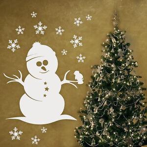 Wandtattoo Weihnachten Schneemann Winter Aufkleber Schneeflocken Wand #2057