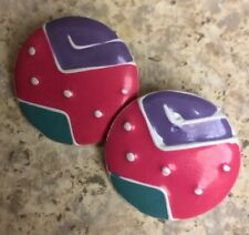 Vintage K&H Colorful Metal Button Pierced Earrings -Inc Shipping