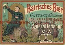 Guatemala Beer Label Bairisches Haeussler Hermanos Quezaltenango Tavern Trove