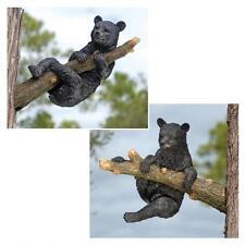 Set of 2: Black Bear Cub In a Tree Wildlife Sculpture Garden