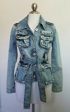 SUGARFLY Womens military Jean JACKET COAT Button Front Size XS