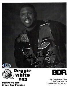 REGGIE WHITE #92 BECKETT (BAS) CERTIFIED SIGNED 8X10 PHOTOGRAPH AUTOGRAPH AUTO