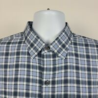 Zachary Prell Blue Flannel Check Plaid Mens Dress Button Shirt Size Large L