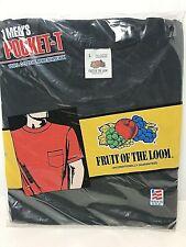 Vtg 1991 Fruit of The Loom Pocket T Tee Shirt Size XL Black 100 Cotton