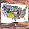 """American Map Number Plates Map Printed Canvas Picture A1.30""""x20""""30mm Deep Frame"""