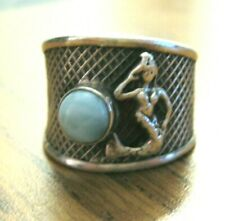 Silver Larimar Stone Mermaid Ring Size 6 💙 One of a Kind Hand Crafted Sterling