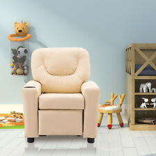 Kids Recliner Armchair Small Sofa Chair White with Cup Holder Flash Furniture