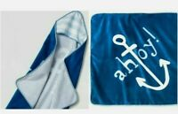 New Infant Blue Cloud Island Blue Hooded Towel Ahoy Ship Boat Anchor. NEW