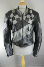 BELSTAFF BLACK & SILVER LEATHER BIKER JACKET WITH KNOX CE ARMOUR 38 INCH