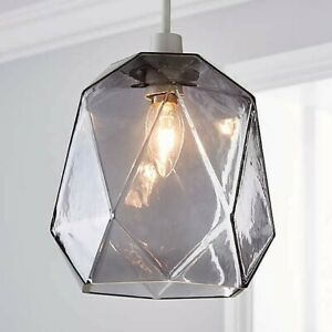 Ebba Faceted Glass Easy Fit Pendant Ceiling Light Boxed H20cm x Dia 17cm