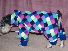 "Harlequin/check Polar Fleece Onsie/Dog Coat/Pajamas. Medium 13"" long 18"" wide"