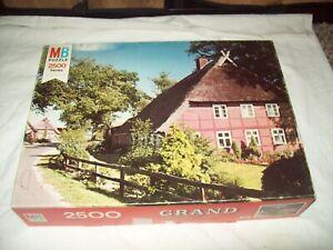Vtg Milton Bradley GRAND jigsaw puzzle 2500 series #4870 cottage cottage scene