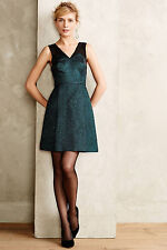 Anthropologie Dress Emerald Facet Flared Cocktail Party Evening, HD in Paris, 14