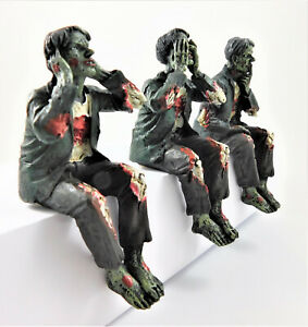 Three Wise Zombies Gothic Horror Figurine Shelf Sitting Ornament Figures NEW IN