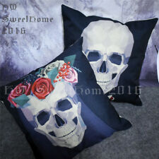 Wedding Skulls Black White Sofa Cushion Cover Square Throw Pillow Case 45x45cm