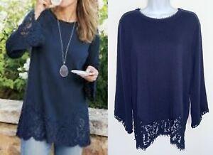 SOFT SURROUNDINGS Womens Isabeau Sweater Pullover Lace Hem Blue Petite Large PL