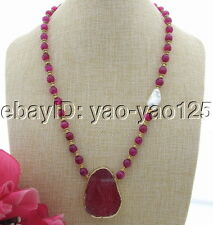 S032112 20mm Keshi Pearl&Agate Necklace