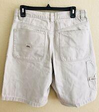 QUICKSILVER Men's Casual Cargo Shorts Size 33 Beige 100% Cotton Flat Front