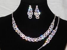 3PC Set Silver With AB Iridescent Rhinestones Necklace, Earrings and Bracelet