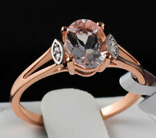 1.12ct Genuine Morganite Solitaire with Diamonds 10k Solid Rose Gold Ring Size 7