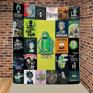 Rick and Morty Quilt Blanket, Thanksgiving Christmas Birthday Gift
