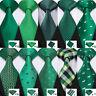 Classic Mens Green Silk Tie Set Checks Solid Necktie Lot Green St.Patrick's Day